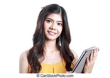 Asian woman holding Tablet