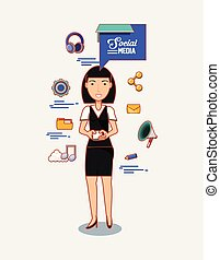 asian woman holds mobile phone social media icons