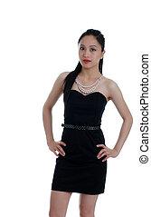 Asian woman in a little black dress