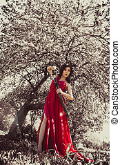 Asian woman in beautiful dress