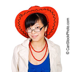 Asian woman in big red hat