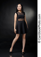 Asian woman in black dress