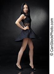Asian woman in black dress