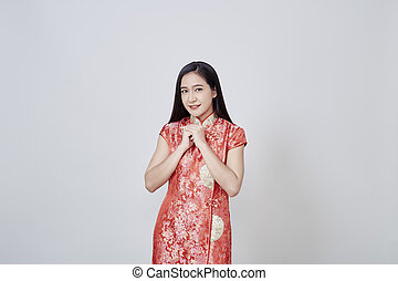 Asian woman in chinese dress traditional cheongsam