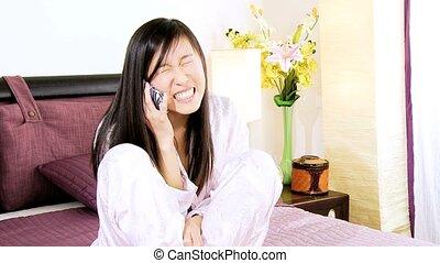 Asian woman in love talking