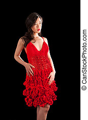 Asian woman in red crochet dress