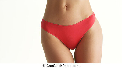 Asian woman in red underwear