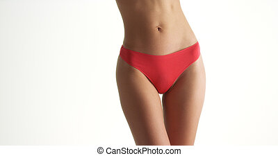 Asian woman in red underwear swaying hips