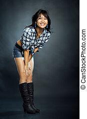 Asian woman in shirt