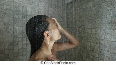 Asian woman in Shower - woman washing hair showering in ...