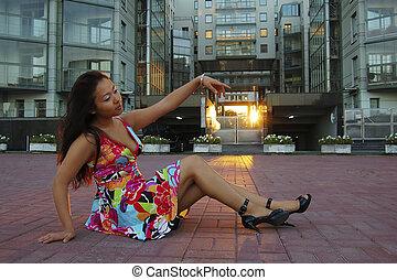 Asian woman in summer dress