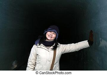 Asian Woman In Winter
