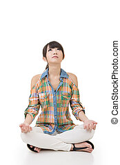 Asian woman in yoga pose