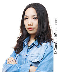 Asian woman isolated on white background