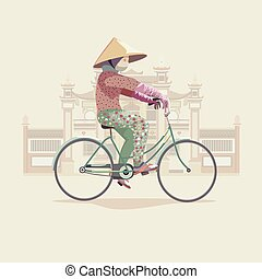 Asian woman on a bicycle near pagoda. Flat illustration.