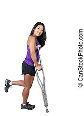Asian Woman on Crutches