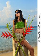 Asian woman on the beach