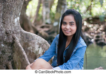 asian woman, portré, alatt, gyönyörű, természet táj