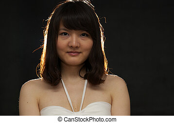 Asian woman portrait isolated