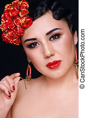 Rockabilly Asian Girl Portrait Of Beautiful Asian Girl With