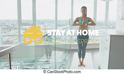 Asian woman practicing yoga with words Stay at home during ...