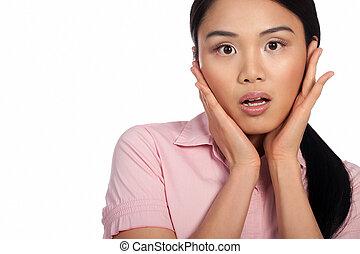 Asian woman reacting in shock - Attracive Asian woman...