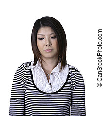 Asian woman sad - Asian woman headshot