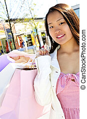 Asian woman shopping