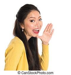 Asian woman shouting