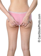 asian woman show her fat and cellulite on buttocks on white...