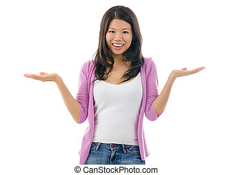 Asian woman showing something