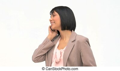 Asian woman speaking on the phone
