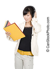 Asian woman studying