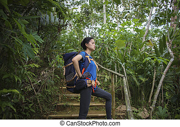 Asian Woman taking a break while hiking