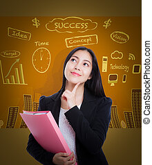 Asian woman thinking many ideas on business background.