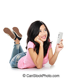 asian woman thinking what to say in a text message