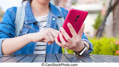 asian woman use smartphone