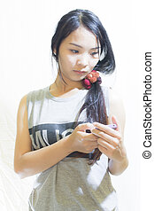 Asian Woman use smartphone Isolated