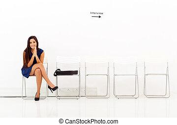 asian woman, várakozás, helyett, alkalmazás, interjú