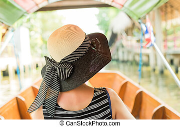 woman visiting the Floating Market