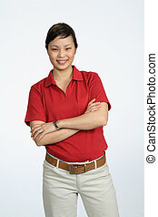 Asian woman wearing a red shirt, college student or business professional
