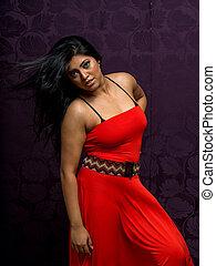 Asian Woman Wearing Beautiful Vibrant Dress