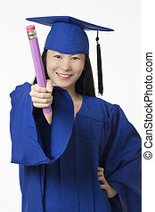 Asian woman wearing blue graduation holding  pencil isolated white background