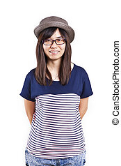 Asian woman wearing hat with smile