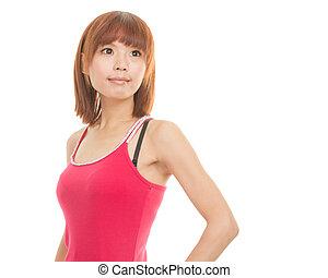 Asian woman wearing red dress