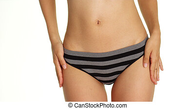 Asian woman wearing stirped underwear