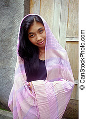 Asian woman wearing veil