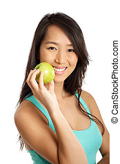 Asian Woman with apple