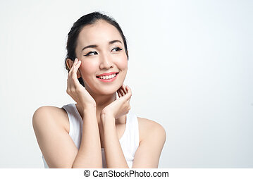 Asian woman with beautiful skinface non make up,pure cosmetic on white background