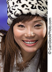 asian woman with big smile